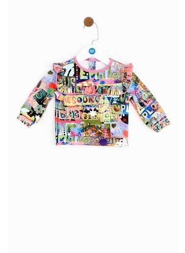 BG Baby Kız Bebek Desenli Sweatshirt Renkli